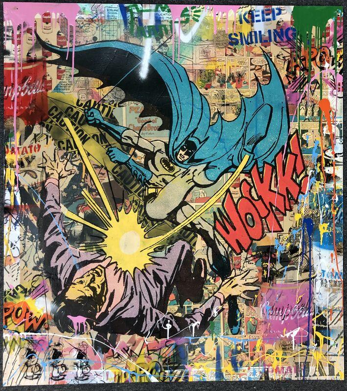 Mr. Brainwash, 'Bat-Wockkk (Unique Original)', 2019, Mixed Media, Original spray paint, stencil, acrylic collage on paper, DANE FINE ART