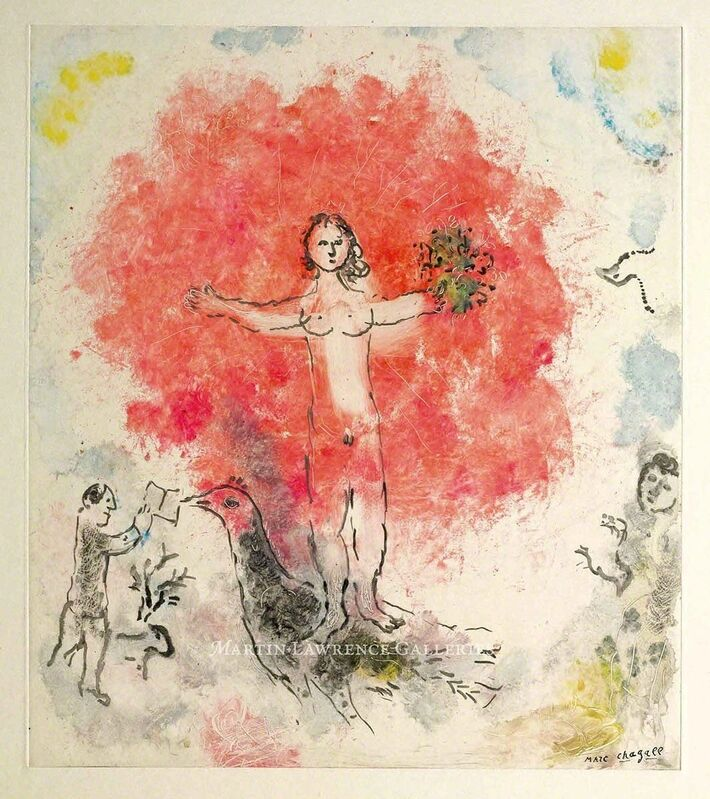 Marc Chagall, 'Nu à l'oiseau', 1974, Print, Monotype on Japon ancien, signed 'Marc Chagall' lower right, Martin Lawrence Galleries