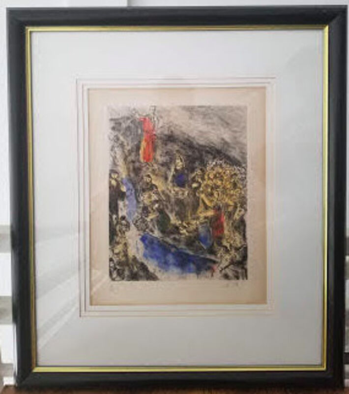 Marc Chagall, 'Moise fait jaillir l'eau du rocher (Moses stricking water from the rock)', 1931-1939, Drawing, Collage or other Work on Paper, Etching with hand-coloring in watercolor on Arches wove paper., Level1 Gallery