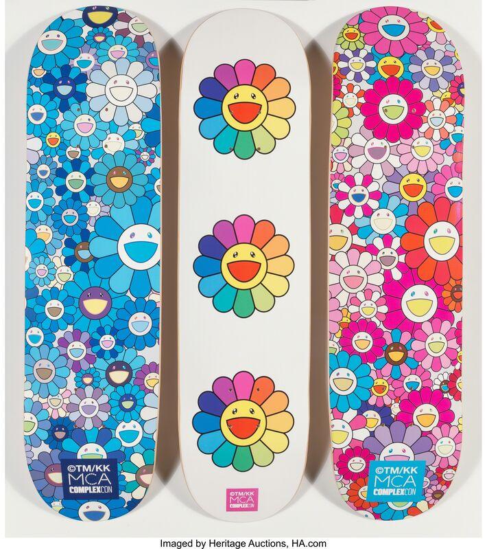 Takashi Murakami, 'Multi Flower 8.0 Skate Decks (Blue, Pink, and White) (three works)', 2017, Print, Screenprints in colors on skate decks, Heritage Auctions