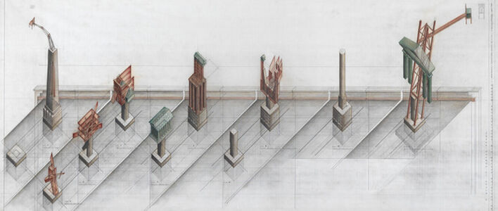 Melvin Charney, 'Allegorical Columns, CCA Garden, Montréal, Québec', 1989