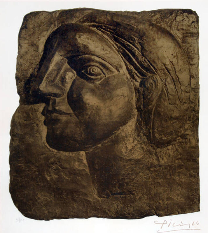 Pablo Picasso, 'Tête de Femme (Marie-Thérèse) [Head of a Woman]', 1958, Print, Lithograph and Collotype in Gold and Brown, Masterworks Fine Art