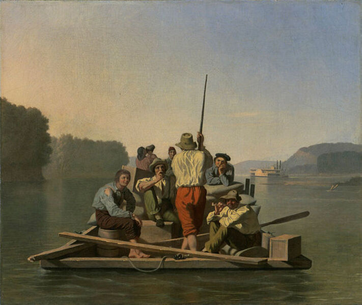 George Caleb Bingham, 'Lighter Relieving a Steamboat Aground', 1847