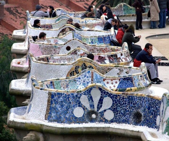 Antoni Gaudí, 'Serpentine Bench, Güell Park', 1900-1914