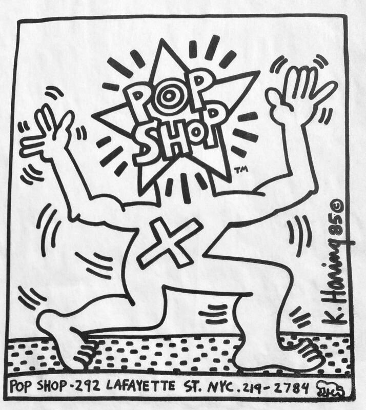 Keith Haring, 'Original Keith Haring Pop Shop bag 1980s', ca. 1986, Ephemera or Merchandise, Offset lithograph on white paper bag, Lot 180