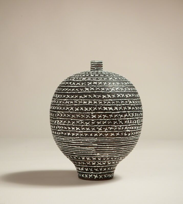 'Vase', ca. 1930, Design/Decorative Art, Earthenware with white glaze forming lines and crosses, Galerie Anne-Sophie Duval