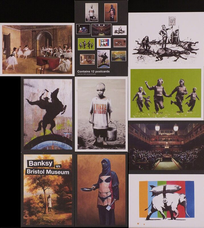 Banksy, 'Partial set of postcards from Banksy vs. Bristol Museum exhibition', 2005, Print, 10 offset lithographs in colors on postcards including cover card and index card, Rago/Wright