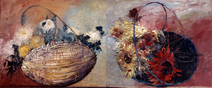 Jimmy Wright, 'Double Basket No. 3: Chrysanthemums and Red Sun Flowers', 1995