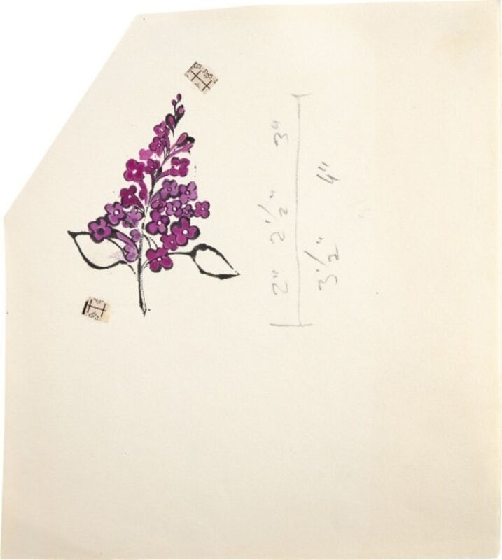 Andy Warhol, 'Still Life (Purple Bunch) ', 1954, Drawing, Collage or other Work on Paper, Ink, pencil and Dr. Martin's Aniline dye on paper, Blond Contemporary