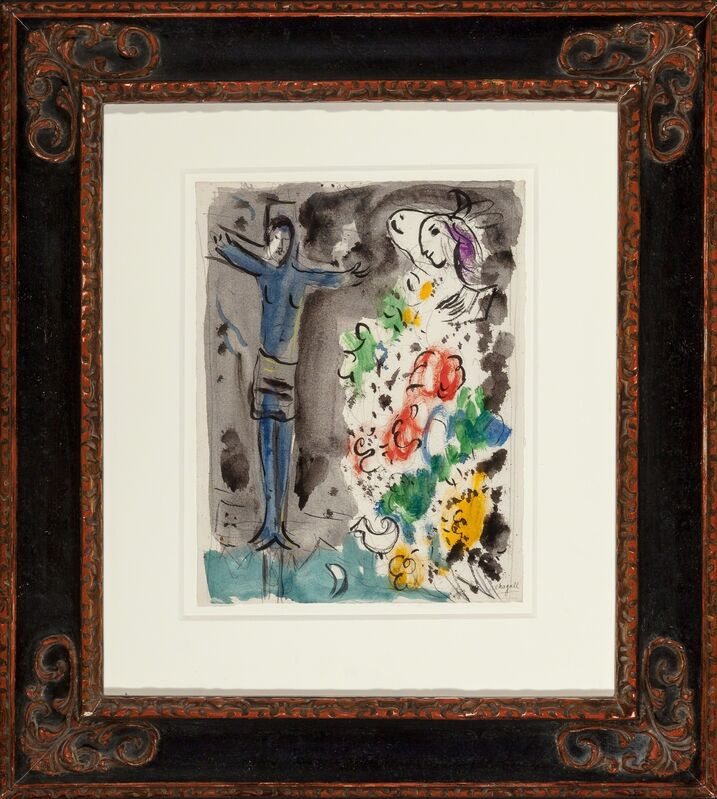 Marc Chagall, 'Le Chris bleu aux fleurs', circa 1950, Drawing, Collage or other Work on Paper, Gouache, ink, and pencil on paper, Heritage Auctions
