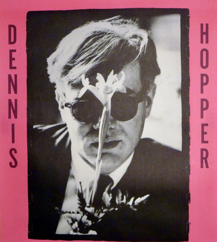Dennis Hopper, ' Dennis Hopper Out of the Sixties exhibit poster (Hopper Andy Warhol with flower)', 1987, Ephemera or Merchandise, Offset lithograph, Lot 180