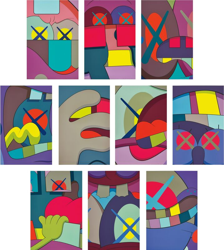 KAWS, 'Ups and Downs', 2013, Books and Portfolios, The complete set of 10 screenprints in colours, on Saunders Waterford High White paper, the full sheets, with title page, loose (as issued) contained in the original black fabric-covered portfolio with embossed title., Phillips