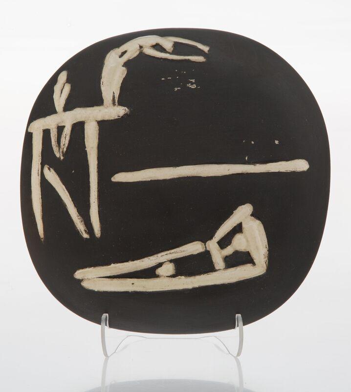 Pablo Picasso, 'Plongeurs', 1956, Design/Decorative Art, Terre de faïence plaque, partially glazed and painted, Heritage Auctions