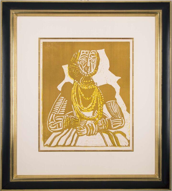 """Pablo Picasso, 'Portrait de jeune Fille, d'après Cranach le Jeune. II', 1958, Print, Linoleum cut printed in ochre and yellow on thick """"offset-fort"""" paper, Galerie Michael"""