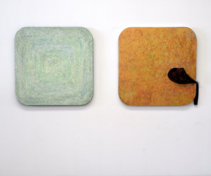 "Song Dong & Yin Xiuzhen, 'Chopsticks: Incision of Time ""Tree Ring"" and ""Black Hole"" Square  筷道:时间的切片""年轮""""黑洞""方切片'"