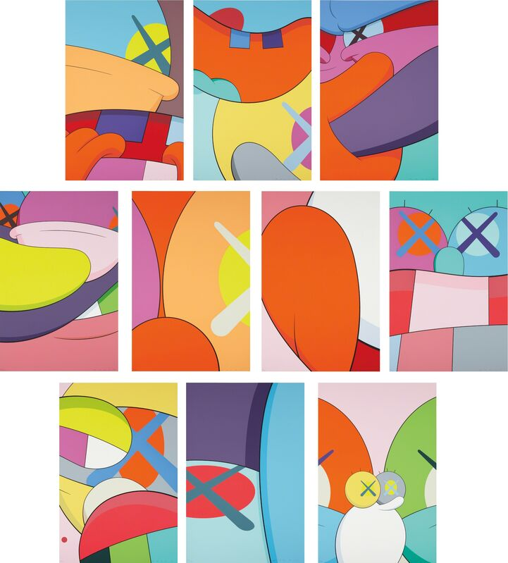 KAWS, 'No Reply', 2015, Print, The complete set of 10 screenprints in colors, on wove paper, the full sheets, contained in the original blue fabric-covered portfolio, Phillips
