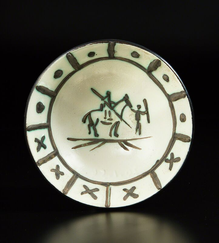 Pablo Picasso, 'Picador', 1954, Design/Decorative Art, Glazed white earthenware cupel, painted in black, with engraving and oxidized paraffin., Phillips