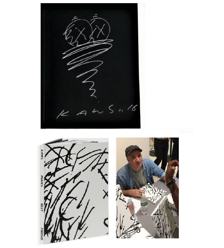 """KAWS, '""""TWISTER- Man's Best Friend"""", Drawing/Signed/Dated, Exhibition Catalogue', 2016, Drawing, Collage or other Work on Paper, Metallic marker on paper, VINCE fine arts/ephemera"""