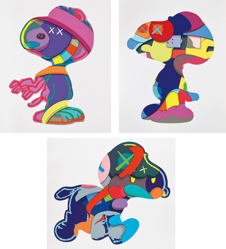 KAWS, 'NO ONE'S HOME; STAY STEADY; and THE THINGS THAT COMFORT', 2015, Print, The complete set of three screenprints in colors, on Saunders Waterford paper, with full margins., Phillips
