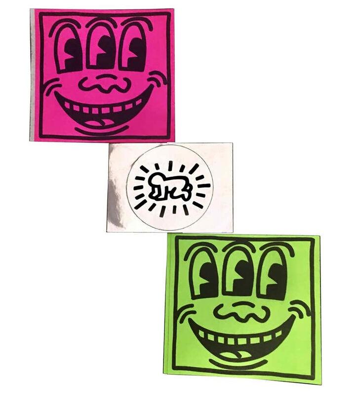 Keith Haring, 'Original Keith Haring Pop Stickers stickers (set of 3) ', 1982, Ephemera or Merchandise, Vintage stickers, Lot 180