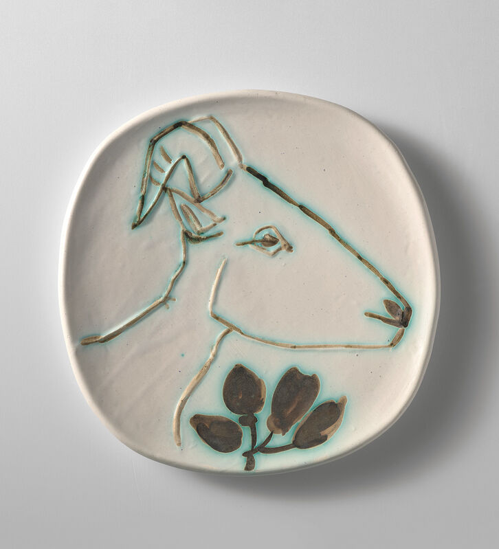Pablo Picasso, 'Tête de chèvre de profil (Goat's Head in Profile)', 1950, Design/Decorative Art, White earthenware round plate painted in colours with partial brushed glaze., Phillips