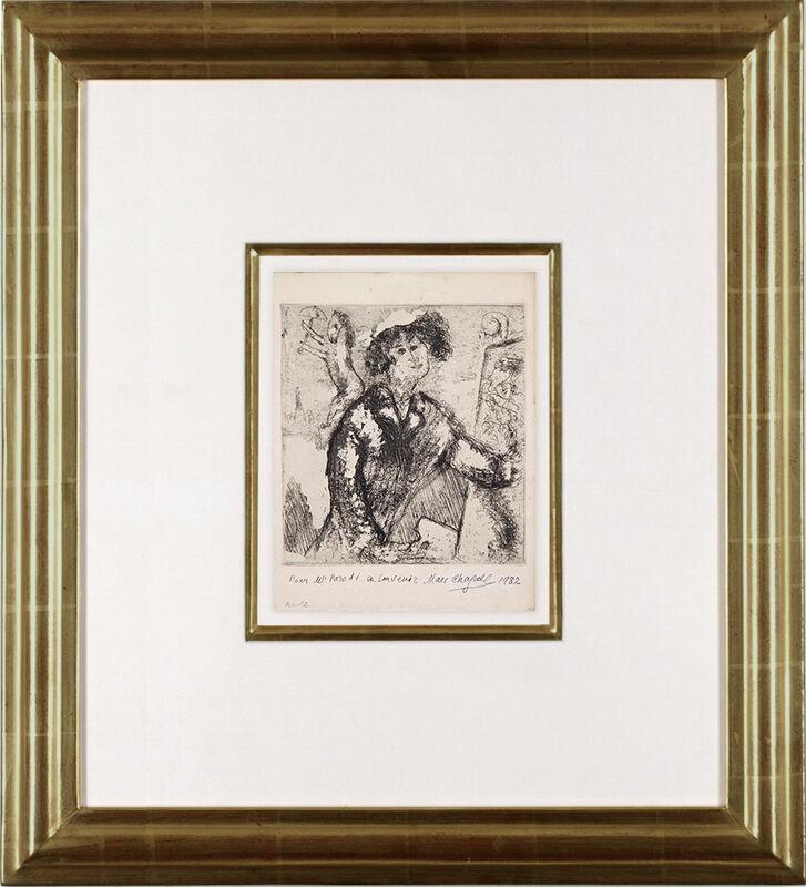Marc Chagall, 'Autoportrait au chevalet', 1931, Print, Etching on Vergé d'Arches paper, Galerie Michael