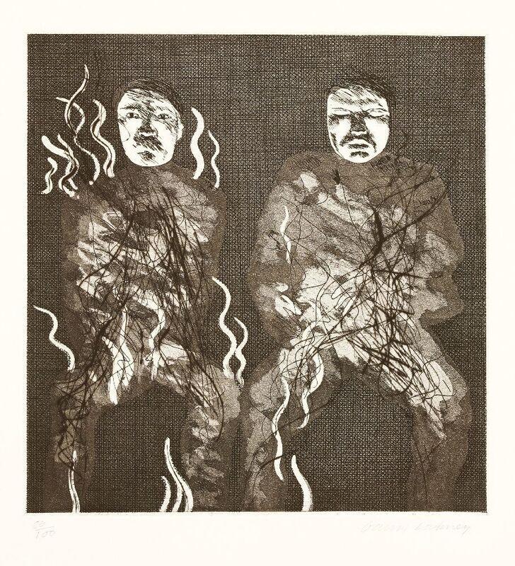 David Hockney, 'CORPSE ON FIRE (TOKYO 88)', 1969, Print, Etching and aquatint, Sworders