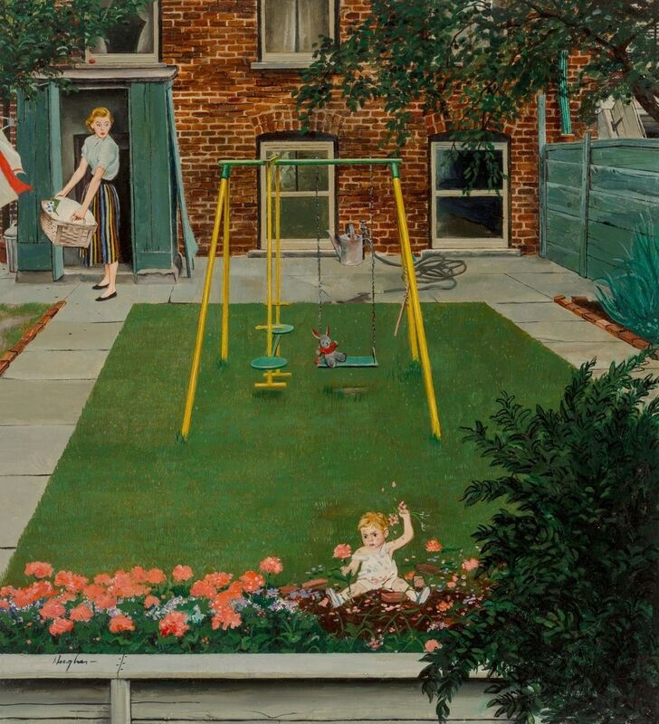 George Hughes, 'Coming Up Roses', 1957, Painting, Oil on Masonite, The Illustrated Gallery