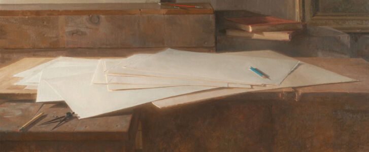 Jacob Collins, 'Paper with Drawing Instruments'