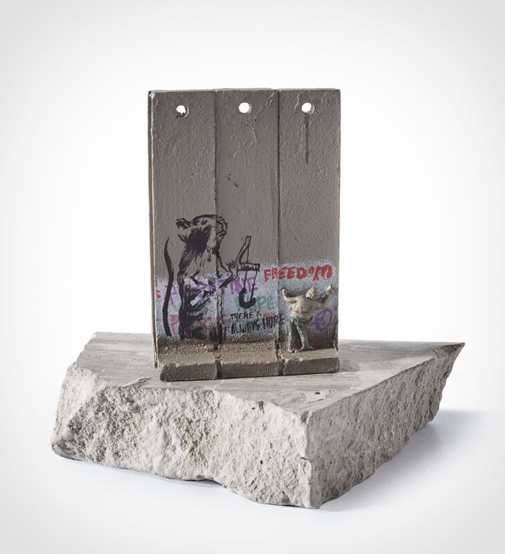 Banksy, 'Walled Off Hotel - Three Part Souvenir Wall Section (Slingshot Rat)', Sculpture, Hand painted resin sculpture with West Bank Separation Wall base, Tate Ward Auctions