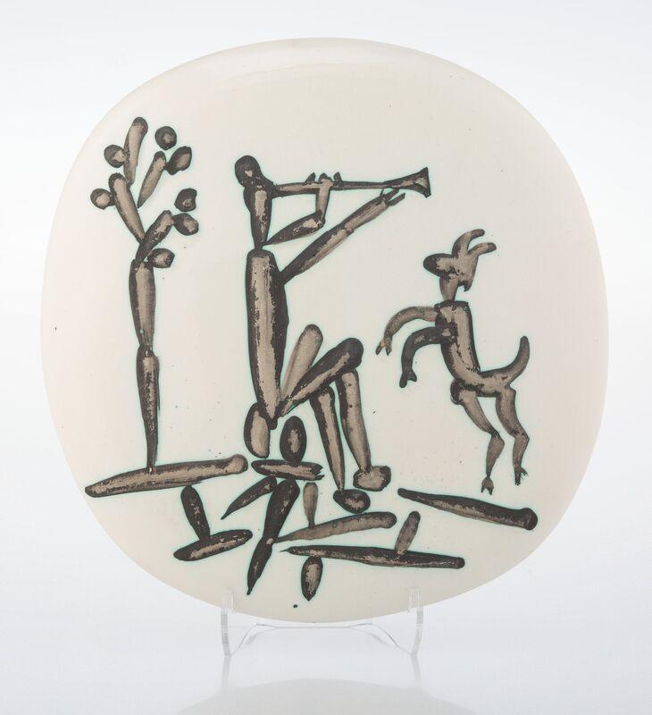 Pablo Picasso, 'Joueur de flute et chevre', 1956, Design/Decorative Art, Terre de faïence plaque, partially glazed and painted, Heritage Auctions