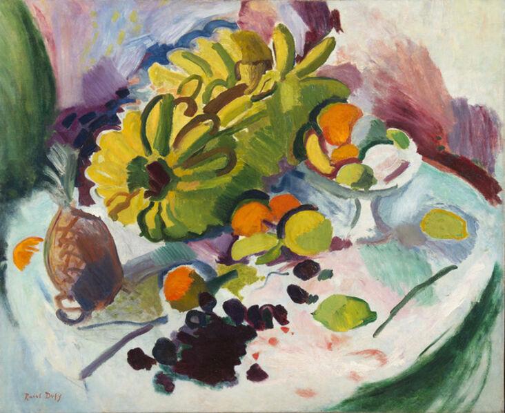 Raoul Dufy, 'Compotier, bananes et fruits sur un entablement', 1905