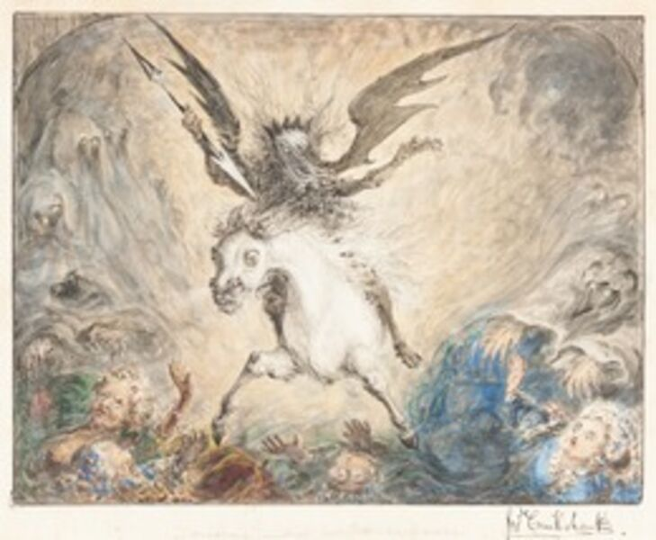 """George Cruikshank, '""""Crinolina"""" - and the Consequences [recto]', 1865"""