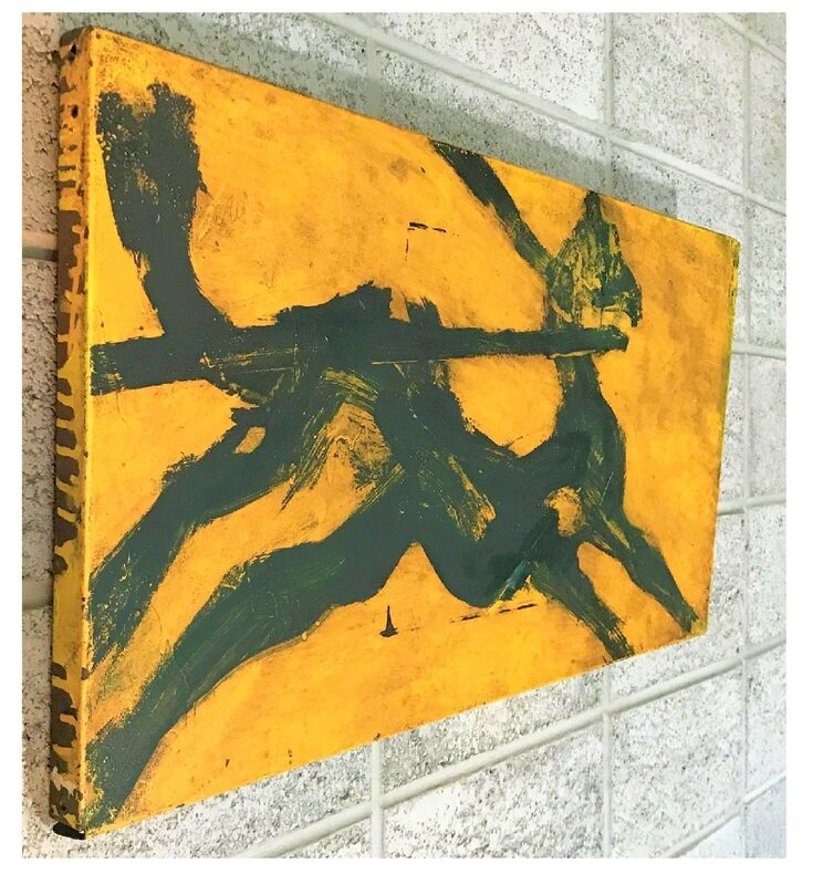 """James Nares, '""""Bucephalus"""", 1983, Oil on Metal Shelf, Titled/Signed/Dated, Michael Klein Gallery NY, American Express NY', 1983, Painting, Oil on metal shelf with wood stretchers, VINCE fine arts/ephemera"""