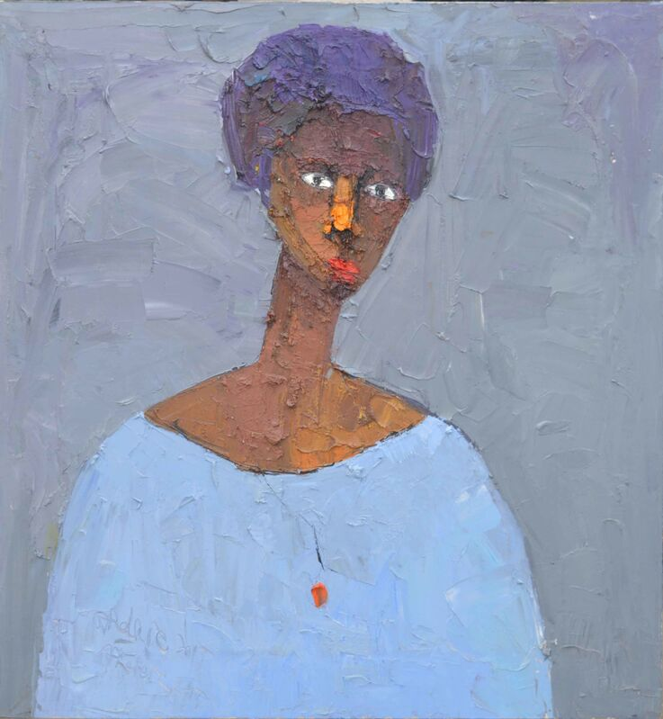DUKE ASIDERE, 'Lady in blue', 2015, Painting, Oil on canvas, The Hourglass Gallery