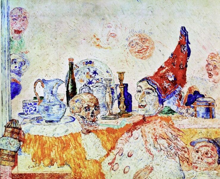 James Ensor, 'Pierrot and Skeleton in a Yellow Robe', 1893