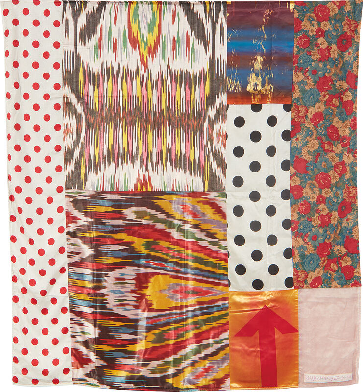 Robert Rauschenberg, 'Samarkand Stitches #II, from Samarkand Stitches', 1988, Print, Unique fabric assemblage including Ikat silk and domestic fabrics with screenprinting, lacking powder-coated aluminum rod for hanging., Phillips