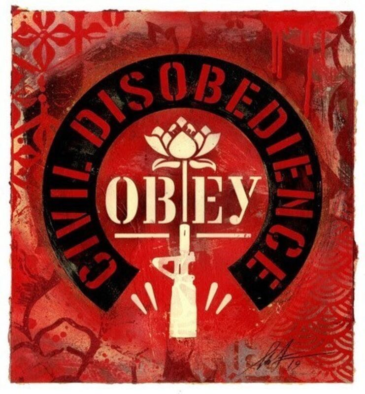 Shepard Fairey, 'Civil Disobedience', 2019, Mixed Media, Acrylic, stencil and collage on paper, DIGARD AUCTION