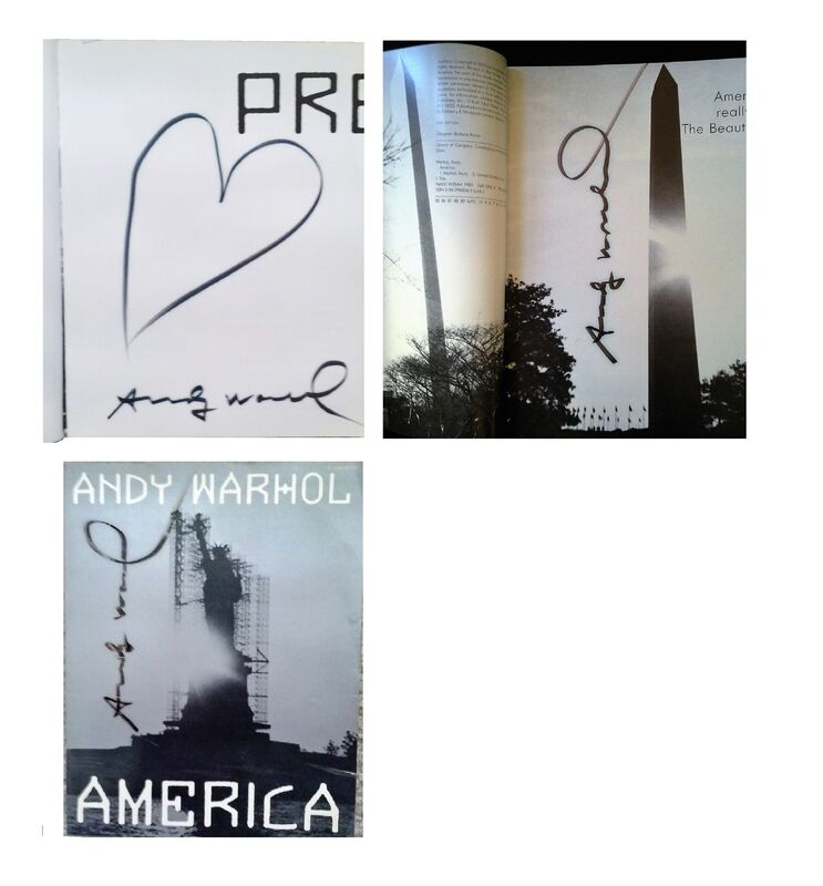 "Andy Warhol, '""AMERICA"" 2-Editions Signed, Heart Drawing ', ca. 1980, Ephemera or Merchandise, Blk. marker on paper, VINCE fine arts/ephemera"