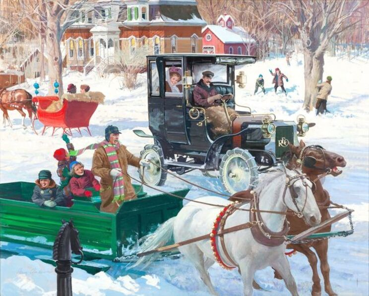 Harry Anderson, 'The Sound of Sleigh Bells, 1906 Reo Depot Wagon', ca. 1970