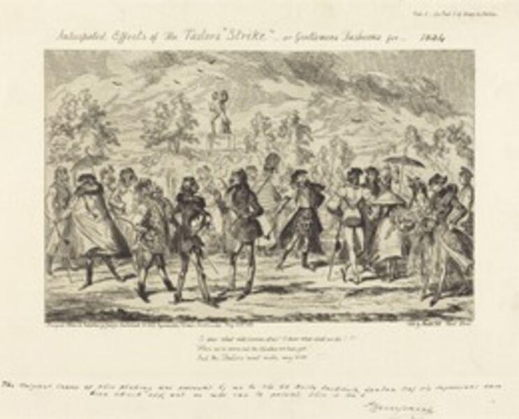 "George Cruikshank, 'Anticipated Effects of the Tailors' ""Strike""', 1834"