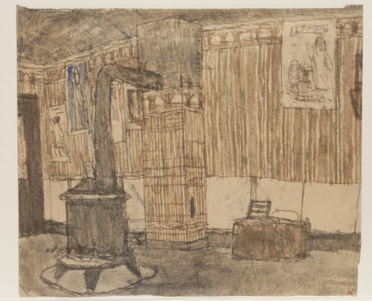 James Castle, 'Untitled (Interior with Stove / Interior with Coffee Grinder)', n.d.