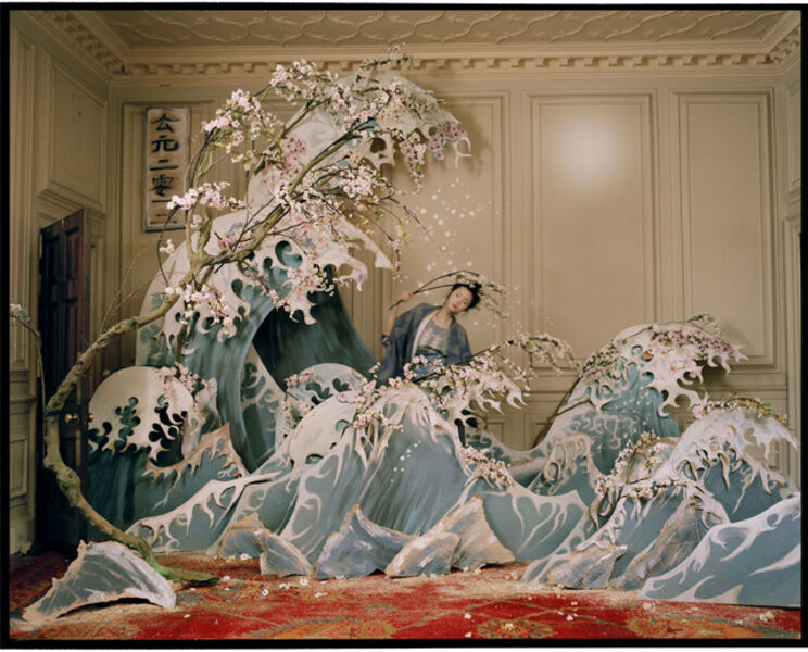 Tim Walker, 'Xiao Wen Ju with Hokusai's Great Wave of Kanagawa, Eglingham, Northumberland', 2012