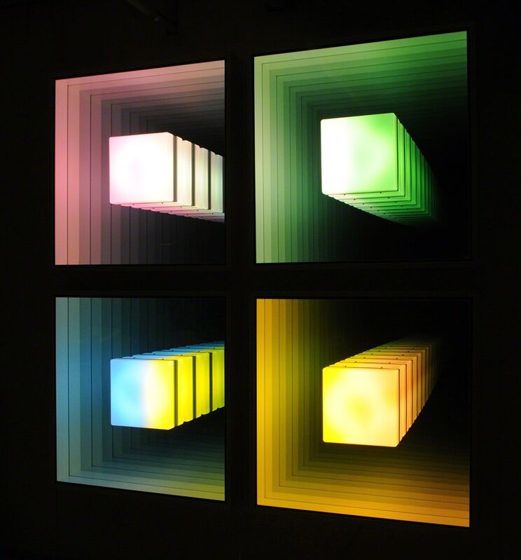 Chul-Hyun Ahn, 'Visual Echo Experiment', 2011, Sculpture, Plywood, acrylic, fluorescent lights, mirrors (in four parts), C. Grimaldis Gallery