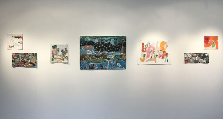 Storylines: Works on Paper by Sally Gil & Jimmie James, installation view
