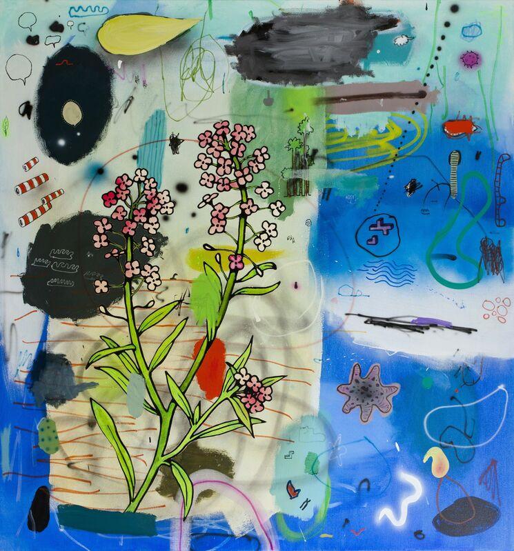 Dan Brault, 'Fleur Bleue', 2014, Painting, Acrylic and oil on canvas on wood board, LarocheJoncas