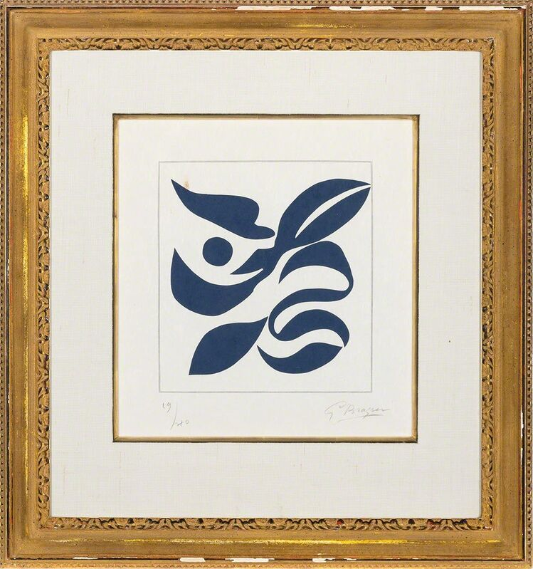 Georges Braque, 'Si Je Mourais Là-Bas (Vallier 181)', 1962, Print, Wood engraving printed in blue, on Japon nacré paper, Doyle