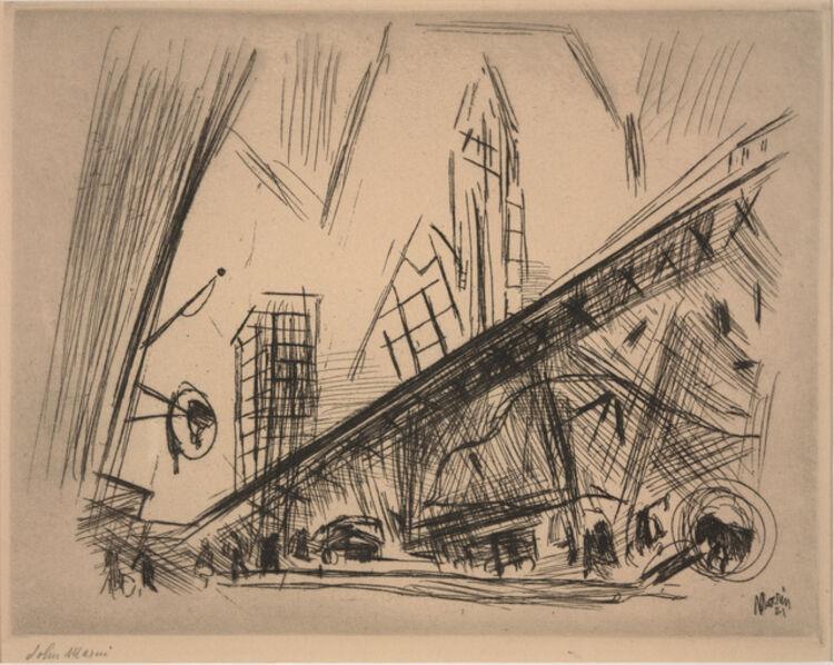 John Marin (1870-1953), 'Downtown New York or Park Row', 1921
