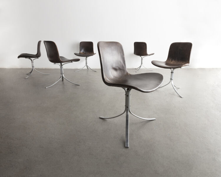 "Poul Kjærholm, 'Set of six (6) ""PK-9"" chairs in black oxhide and stainless steel', 1961"
