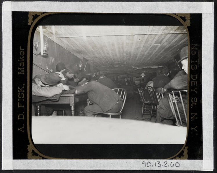 Jacob A. Riis, 'Bandit's Roost -- In a stale beer dive in cellar -- flashlight at 3 a.m.', ca. 1890